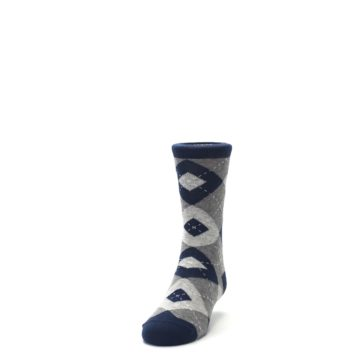 Image of Navy Gray Junior Groomsmen Kid's Dress Socks (side-2-front-06)