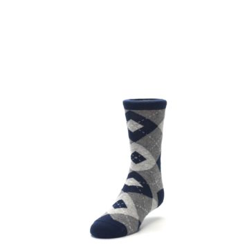 Image of Navy Gray Junior Groomsmen Kid's Dress Socks (side-2-front-07)