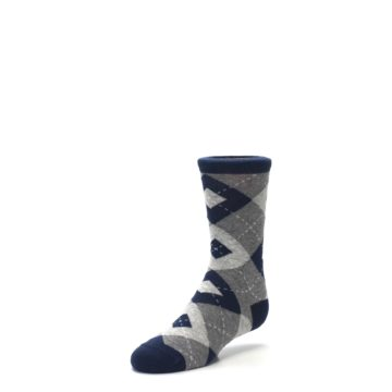 Image of Navy Gray Junior Groomsmen Kid's Dress Socks (side-2-front-08)