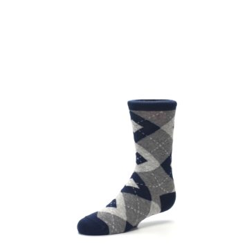 Image of Navy Gray Junior Groomsmen Kid's Dress Socks (side-2-09)