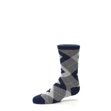 Image of Navy Gray Junior Groomsmen Kid's Dress Socks (side-2-10)