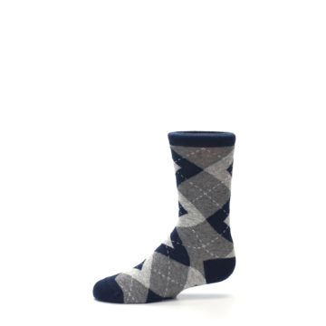 Image of Navy Gray Junior Groomsmen Kid's Dress Socks (side-2-11)