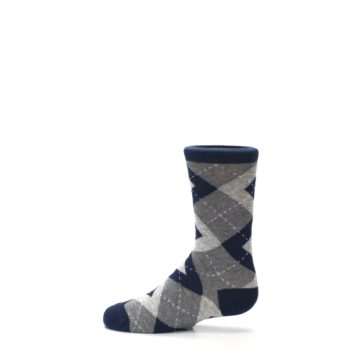 Image of Navy Gray Junior Groomsmen Kid's Dress Socks (side-2-12)
