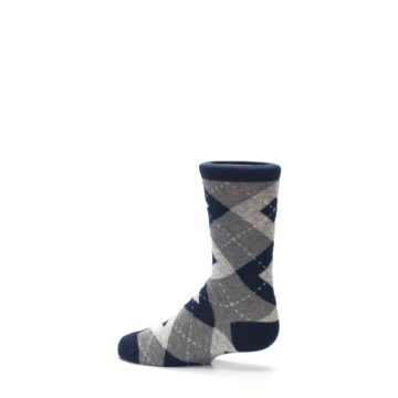 Image of Navy Gray Junior Groomsmen Kid's Dress Socks (side-2-13)