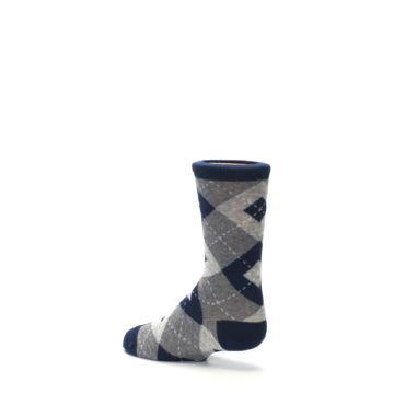 Image of Navy Gray Junior Groomsmen Kid's Dress Socks (side-2-back-14)