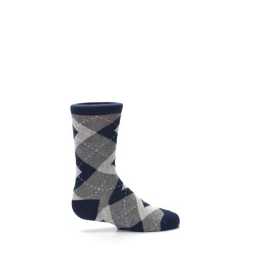 Image of Navy Gray Junior Groomsmen Kid's Dress Socks (side-1-24)