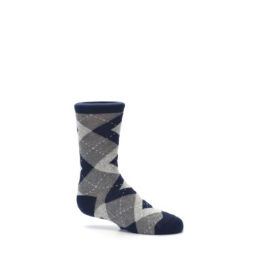 Image of Navy Gray Junior Groomsmen Kid's Dress Socks (side-1-25)