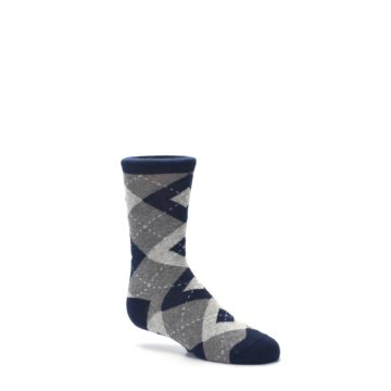 Image of Navy Gray Junior Groomsmen Kid's Dress Socks (side-1-26)