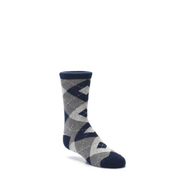 Image of Navy Gray Junior Groomsmen Kid's Dress Socks (side-1-27)
