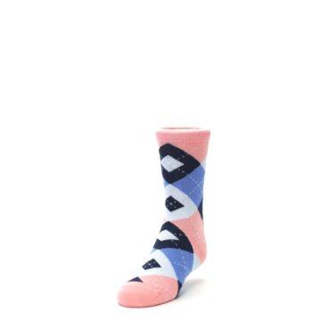 Image of Pink Blue Junior Groomsmen Kid's Dress Socks (side-2-front-07)