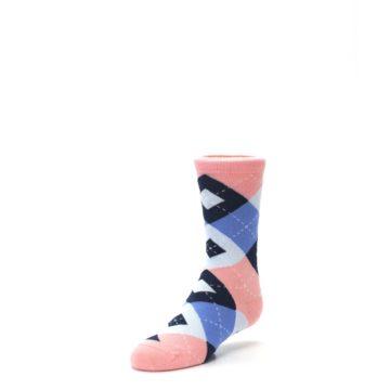 Image of Pink Blue Junior Groomsmen Kid's Dress Socks (side-2-front-08)