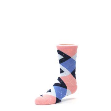 Image of Pink Blue Junior Groomsmen Kid's Dress Socks (side-2-09)
