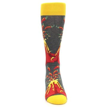 Image of Red I Lava Spice Volcano Men's Dress Socks (front-04)