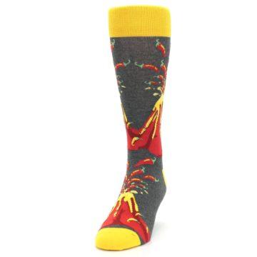Image of Red I Lava Spice Volcano Men's Dress Socks (side-2-front-06)