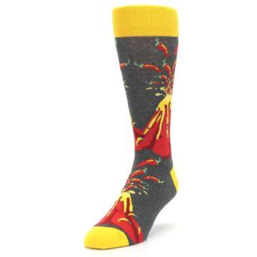 Image of Red I Lava Spice Volcano Men's Dress Socks (side-2-front-07)