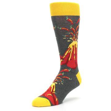 Image of Red I Lava Spice Volcano Men's Dress Socks (side-2-front-08)