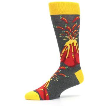 Image of Red I Lava Spice Volcano Men's Dress Socks (side-2-10)