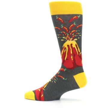 Image of Red I Lava Spice Volcano Men's Dress Socks (side-2-12)