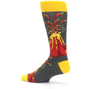 Image of Red I Lava Spice Volcano Men's Dress Socks (side-2-13)