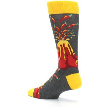 Image of Red I Lava Spice Volcano Men's Dress Socks (side-2-back-14)