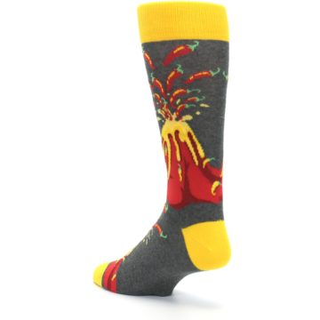 Image of Red I Lava Spice Volcano Men's Dress Socks (side-2-back-15)