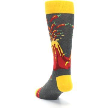 Image of Red I Lava Spice Volcano Men's Dress Socks (side-2-back-16)