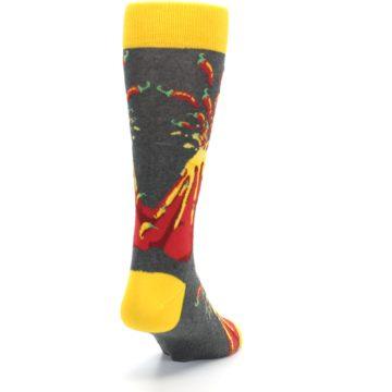Image of Red I Lava Spice Volcano Men's Dress Socks (side-1-back-20)