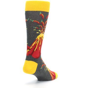 Image of Red I Lava Spice Volcano Men's Dress Socks (side-1-back-21)
