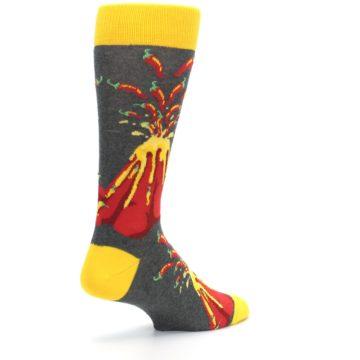 Image of Red I Lava Spice Volcano Men's Dress Socks (side-1-back-22)