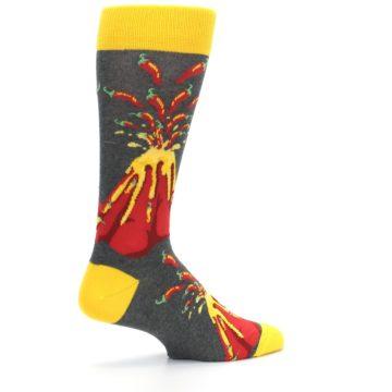 Image of Red I Lava Spice Volcano Men's Dress Socks (side-1-23)