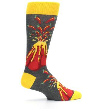 Image of Red I Lava Spice Volcano Men's Dress Socks (side-1-24)