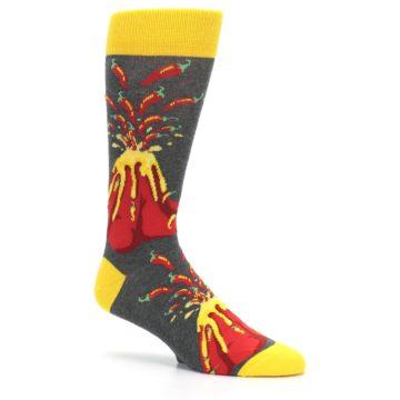 Image of Red I Lava Spice Volcano Men's Dress Socks (side-1-26)