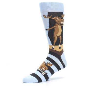 Image of Brown Light Blue Amoosing Moose Men's Dress Socks (side-2-09)