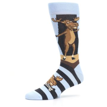 Image of Brown Light Blue Amoosing Moose Men's Dress Socks (side-2-10)