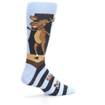 Image of Brown Light Blue Amoosing Moose Men's Dress Socks (side-1-23)