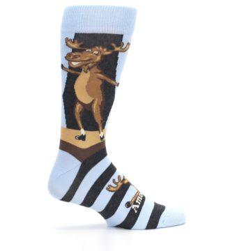 Image of Brown Light Blue Amoosing Moose Men's Dress Socks (side-1-24)