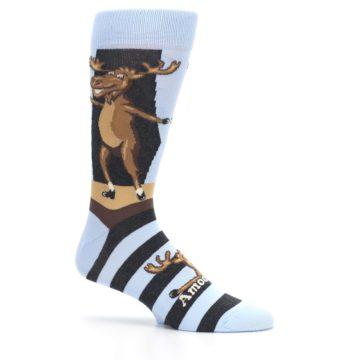 Image of Brown Light Blue Amoosing Moose Men's Dress Socks (side-1-25)