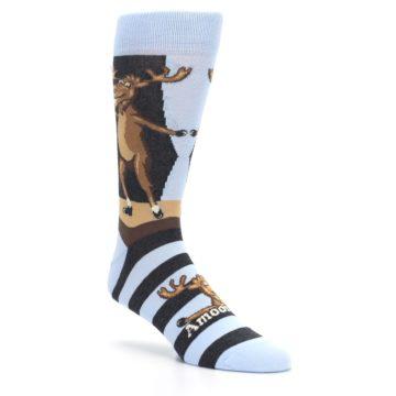 Image of Brown Light Blue Amoosing Moose Men's Dress Socks (side-1-27)