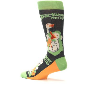 Image of Green Ducks Quacking Me Up Men's Dress Socks (side-2-13)