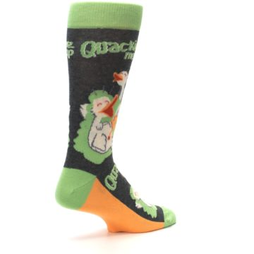 Image of Green Ducks Quacking Me Up Men's Dress Socks (side-1-back-22)