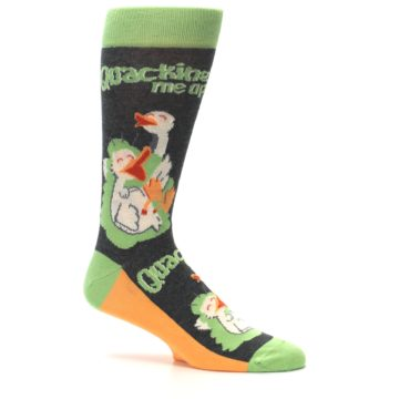 Image of Green Ducks Quacking Me Up Men's Dress Socks (side-1-25)
