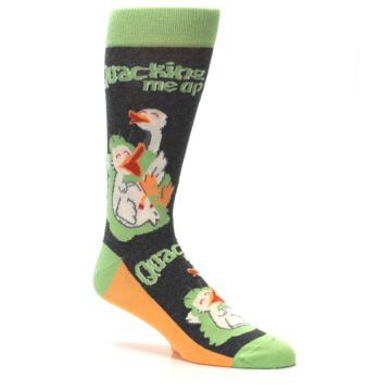 Image of Green Ducks Quacking Me Up Men's Dress Socks (side-1-26)