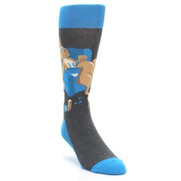 Image of Blue Kangaroo Pouch Potato Men's Dress Socks (side-1-front-02)