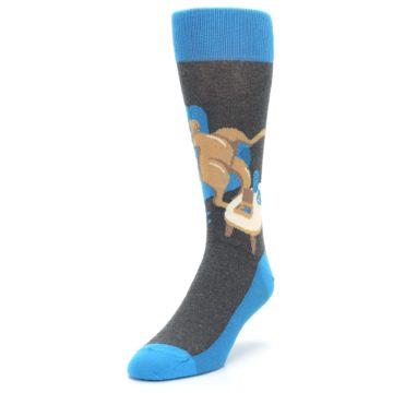 Image of Blue Kangaroo Pouch Potato Men's Dress Socks (side-2-front-07)