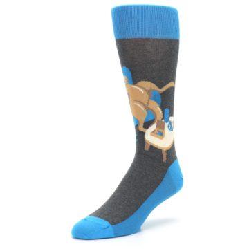 Image of Blue Kangaroo Pouch Potato Men's Dress Socks (side-2-front-08)