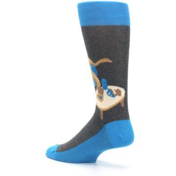 Image of Blue Kangaroo Pouch Potato Men's Dress Socks (side-2-back-14)