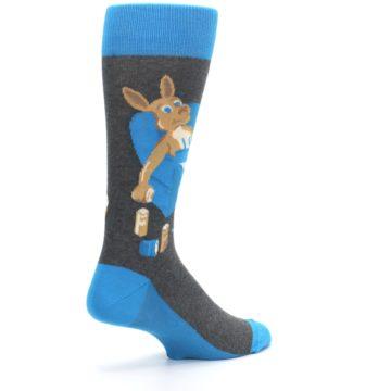 Image of Blue Kangaroo Pouch Potato Men's Dress Socks (side-1-back-22)
