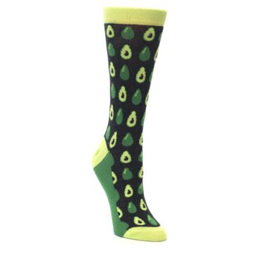 Image of Green Gray Avocados Women's Dress Socks (side-1-front-02)