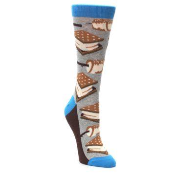 Image of Gray Marshmallow Smores Women's Dress Socks (side-1-front-02)
