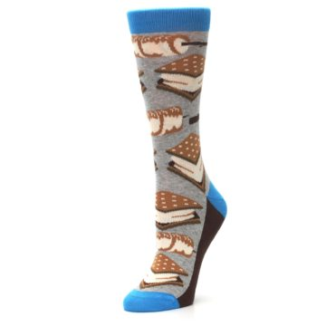 Image of Gray Marshmallow Smores Women's Dress Socks (side-2-09)